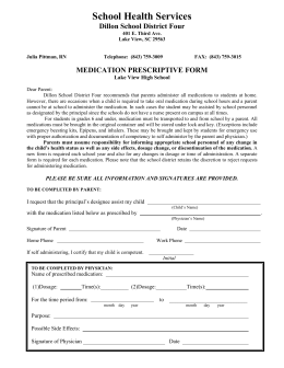 medication prescriptive form - Dillon School District Four