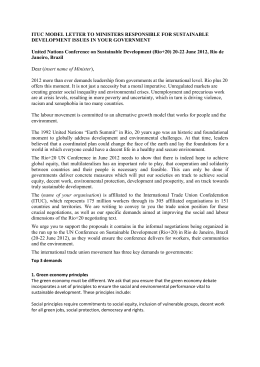 model letter to ministers responsible for sustainable development
