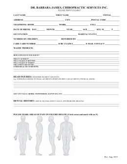 NEW PATIENT FORM Rev. August 2015