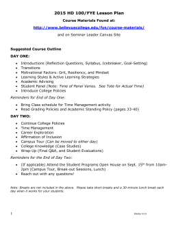 2015 FYE Instructor Lesson Plan
