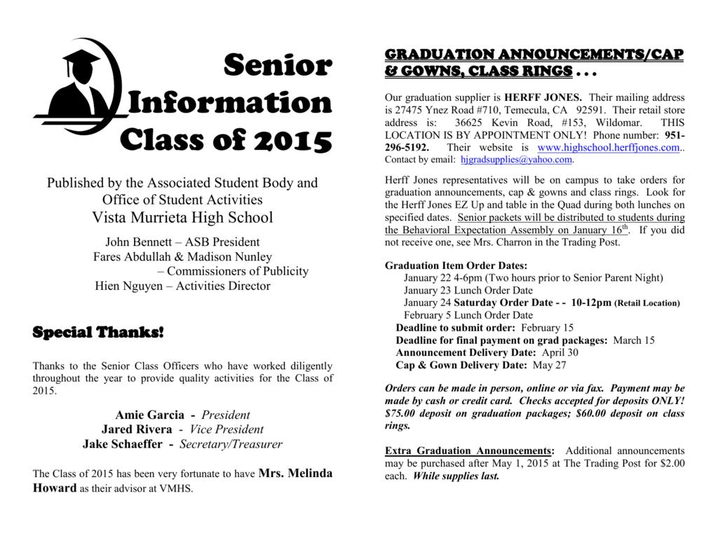 senior information booklet link - Murrieta Unified School District