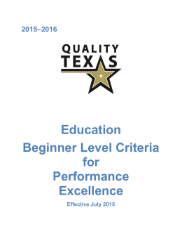 Education Beginner Level Criteria
