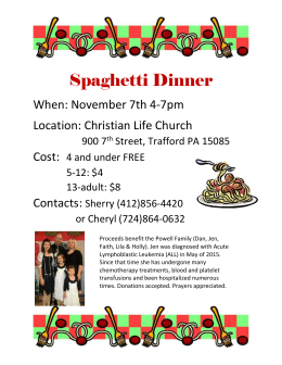 Spaghetti Dinner flyer - Christian Life Church