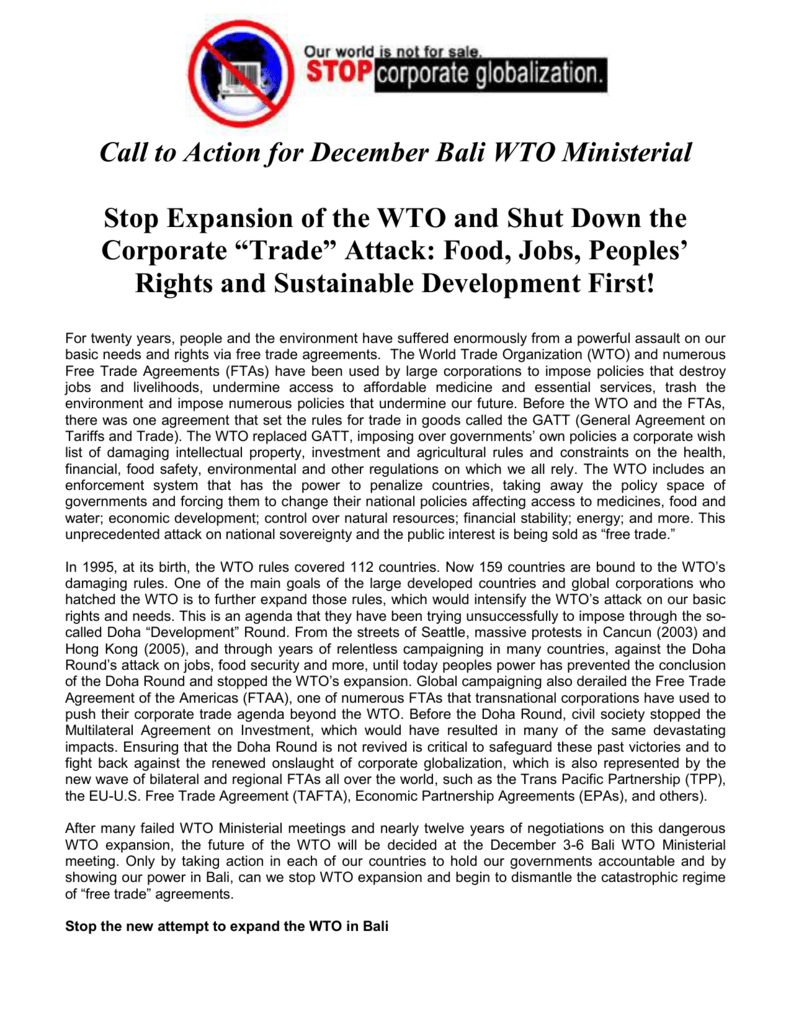 Wto Turnaround Food Jobs And Sustainable Development First