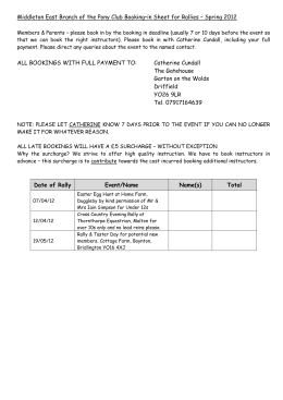 Middleton East Branch of the Pony Club Booking–in Sheet for