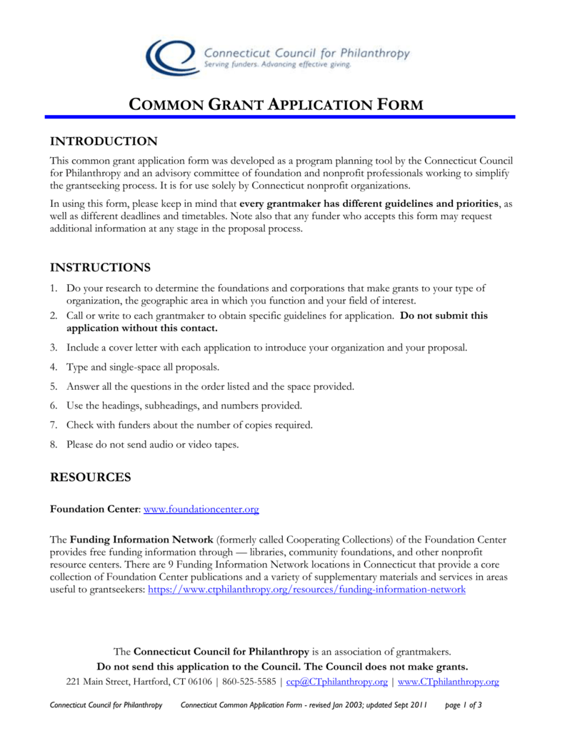 common grant application form - Connecticut Council for