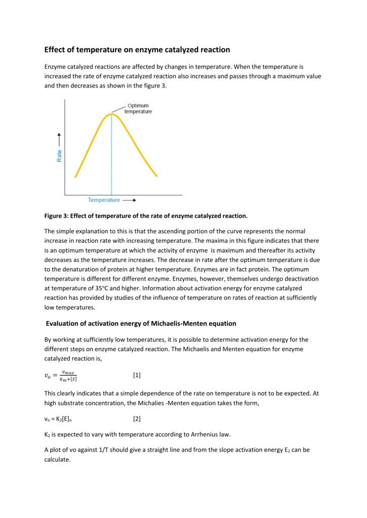B Effect Of Temp On Enzyme Catalyzed Reaction
