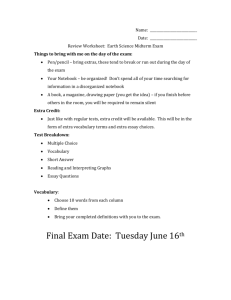 Name: Date: Review Worksheet: Earth Science Midterm Exam