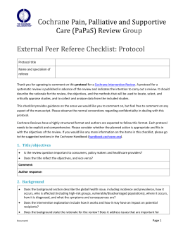 Peer review checklist for protocol - Cochrane Pain, Palliative and