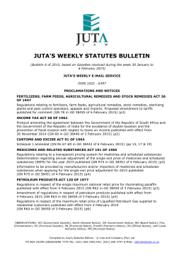 the MS Word version of Juta`s Weekly Statutes Bulletin