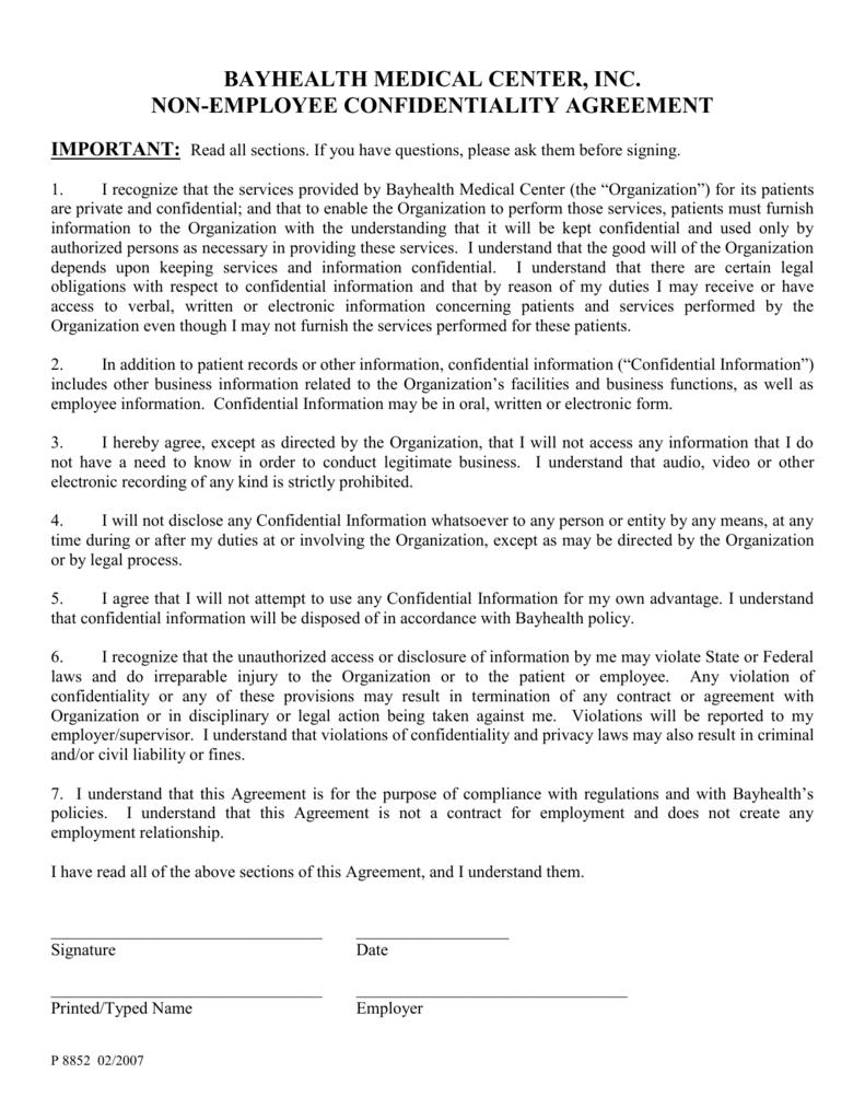Confidentiality Agreement Bayhealth Medical Center