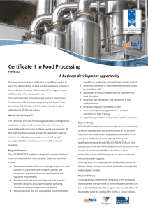 Certificate II in Food Processing - The National Centre for Dairy