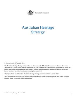 Australian Heritage Strategy - Department of the Environment