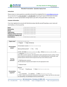 Microbial Fermentation - Quotation Inquiry Form Instructions Please