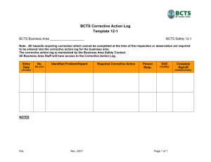 Appendix 1H Checklist 12-1: BCTS Corrective Action Log