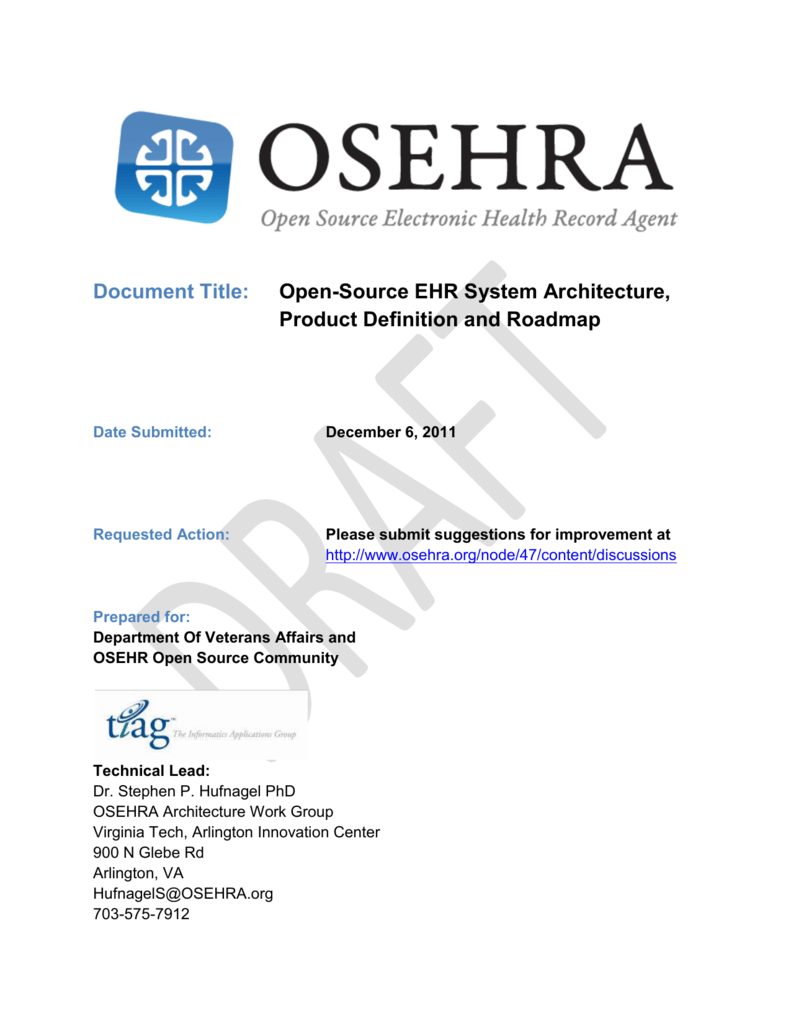 OSEHRA System Architecture, Product Definition and Roadmap