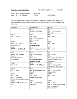 Tentative Lecture Schedule Biol 3350 Hightower Fall 2015 Class