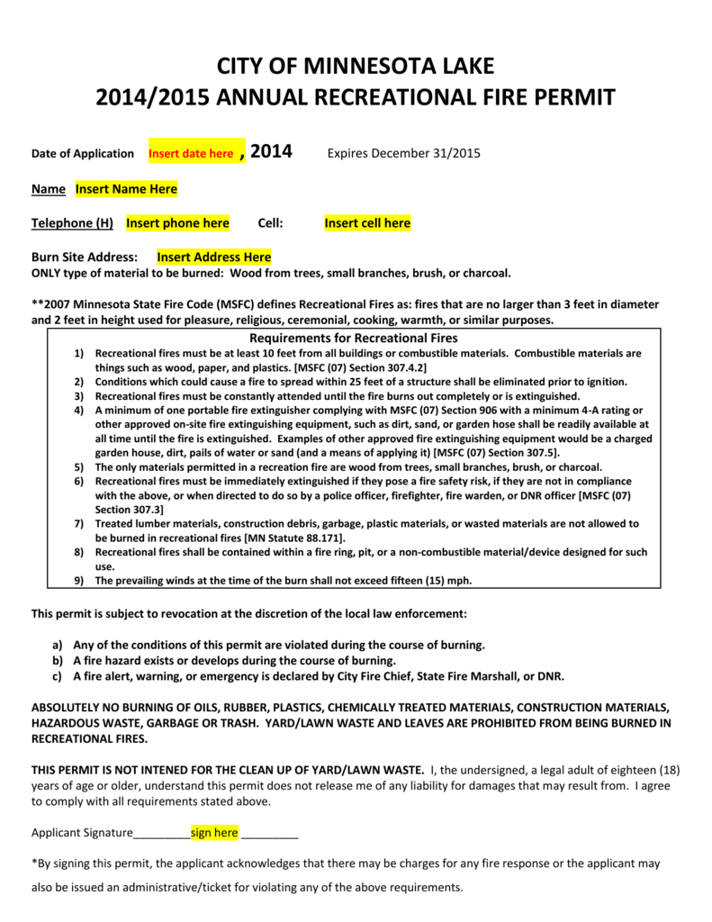 14-15-Web Site Permit - the City of Minnesota Lake