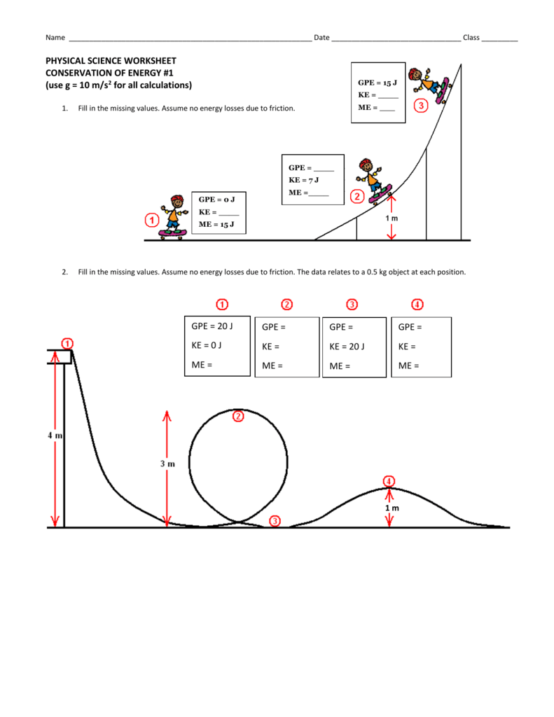 Conservation Of Energy Worksheet 1