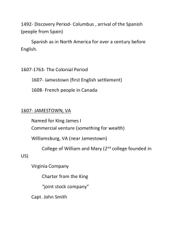 1607- jamestown, va
