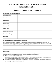 Appendix D - Sample Lesson Plan Template