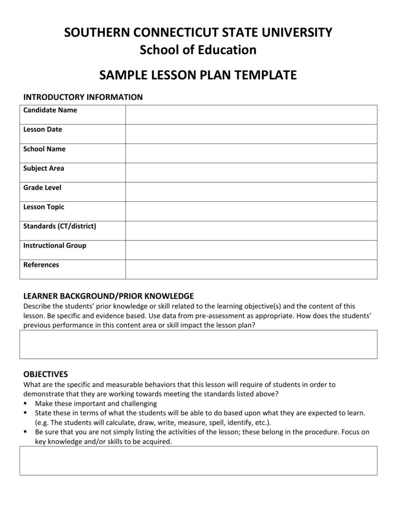 Appendix D Sample Lesson Plan Template - University lesson plan template