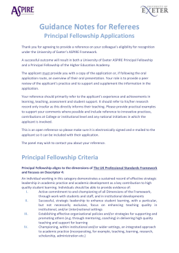 Guidance Notes for Referees Principal Fellowship Applications
