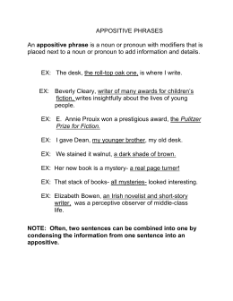 appositives and appositive phrases notes