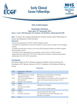 Agenda and Workshops - NHS Education for Scotland