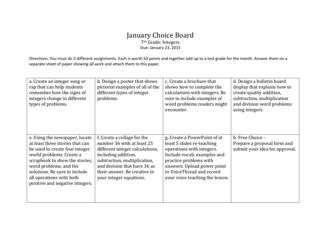 January Choice Board 7th Grade Integers Due January 23 2015