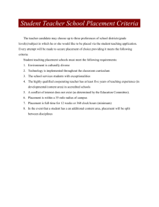 Criteria for Student Teaching School Placement