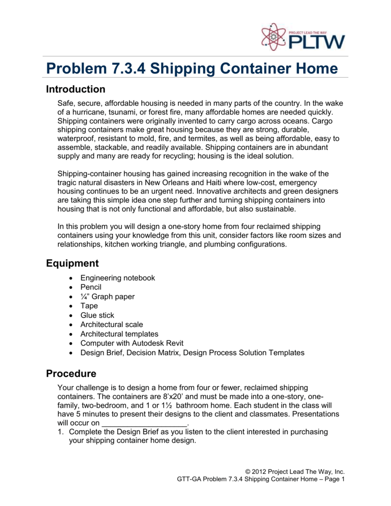 Problem 7 3 4 Shipping Container Home