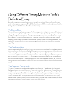 Using Different Primary Modes to Build a Definition Essay