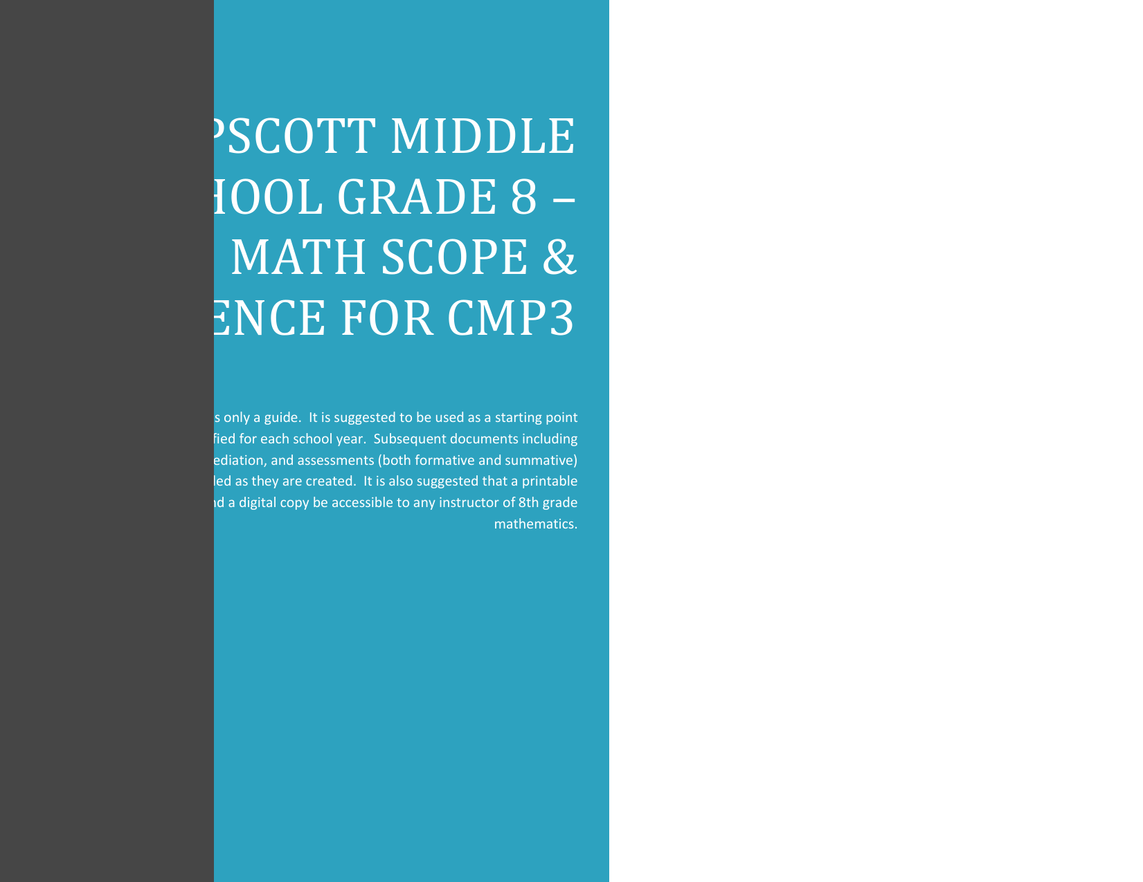 Swampscott Middle School Grade 8 * Math Scope & sequence for