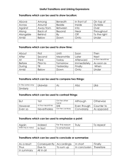 Useful Transitions and Linking Expressions