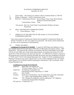 PLANNING COMMISSION MINUTES December 20, 2012 Call to