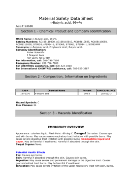 Material Safety Data Sheet n-Butyric acid, 99+% ACC# 03680