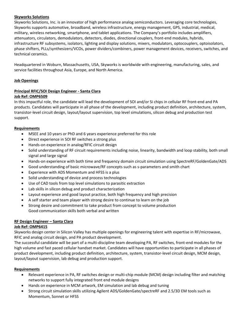 Open Positions Skyworks Rf Switch Circuit