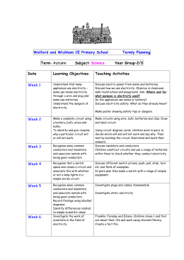 Science – Electricity - Welford and Wickham C of E Primary School