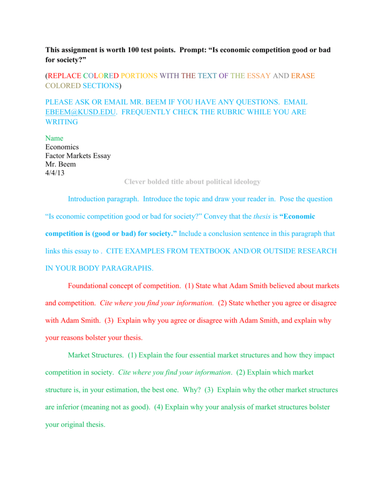 essay on market for class 5