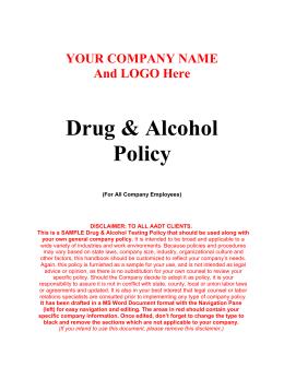 sample dot faa drug alcohol testing policy