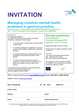 INVITATION MENTAL HEALTH SERIES OUTLINE Managing