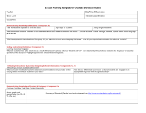 Pre-observation Lesson Planning Template Aligned with FFT Rubric