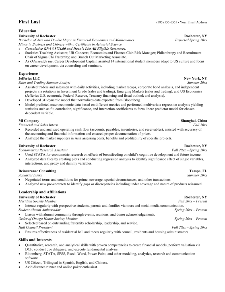 New Resume Template University Of Rochester