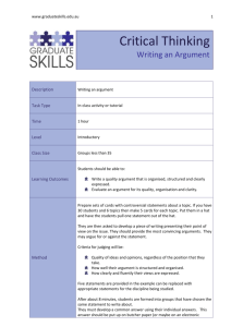 www.graduateskills.edu.au Critical Thinking Writing an Argument