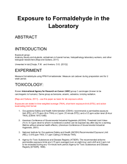 Exposure to Formaldehyde in the Laboratory