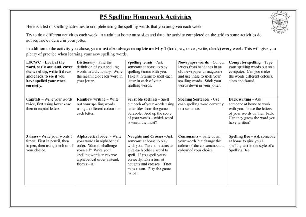 Homework activity grid