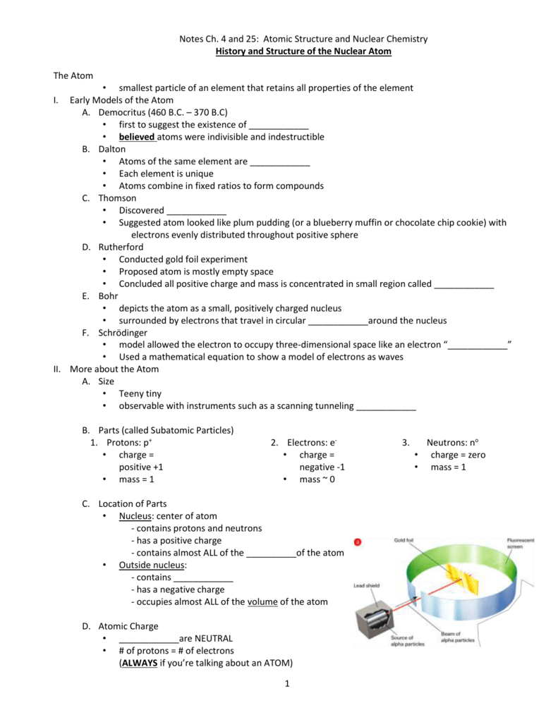 Notes Ch. 4 and 25: Atomic Structure and Nuclear Chemistry ...