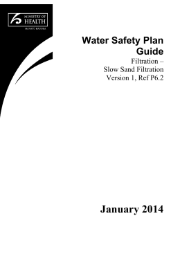 Water Safety Plan Guide: Filtration * Slow Sand