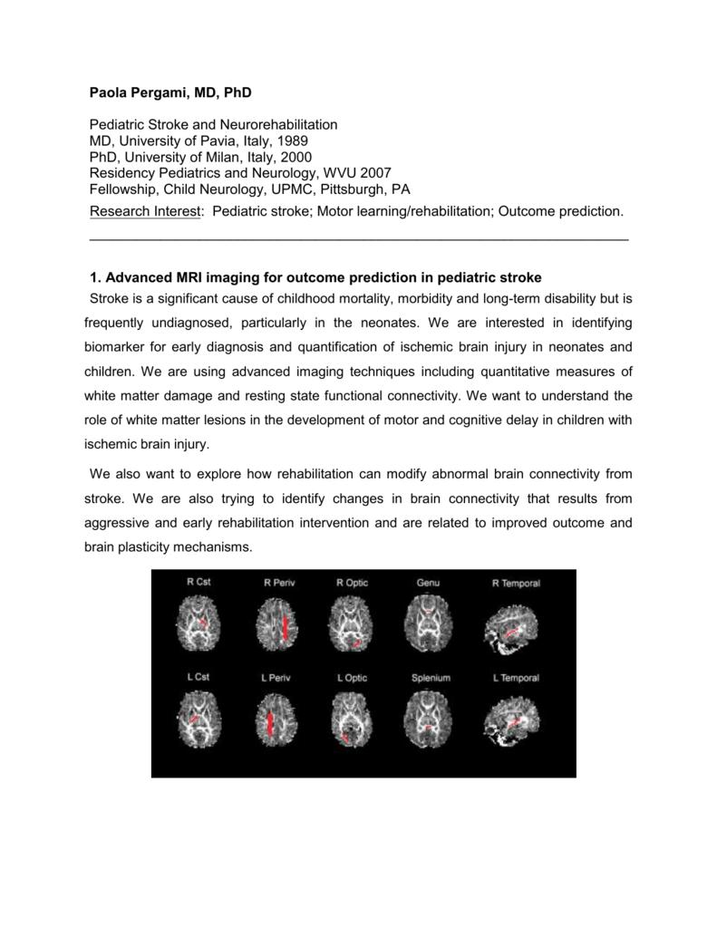 Advanced MRI Imaging for Pediatric Stroke Information